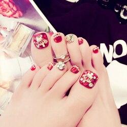 Novo acrílico falso toe rosa sombra tatuagem jóias deslumbrante diamante falso prego remendo arte j46