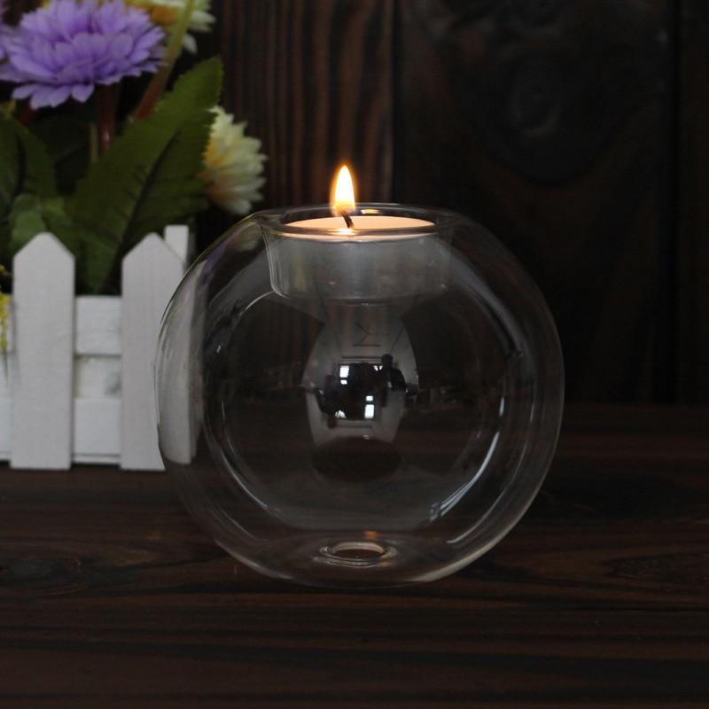 Portavelas De vidrio europeo Circular candelabro hogar Decoración Centro De Mesa Decorativo...
