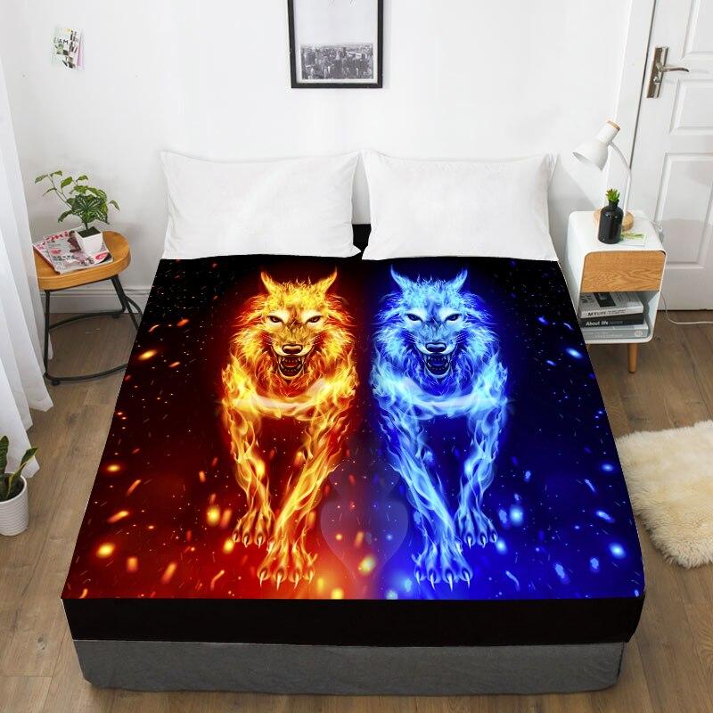 Sábana de cama personalizada con impresión 3D con elástico, sábana ajustada reina/Rey, Funda de colchón de fire wolf Animal 160x20 0/150x200, envío directo