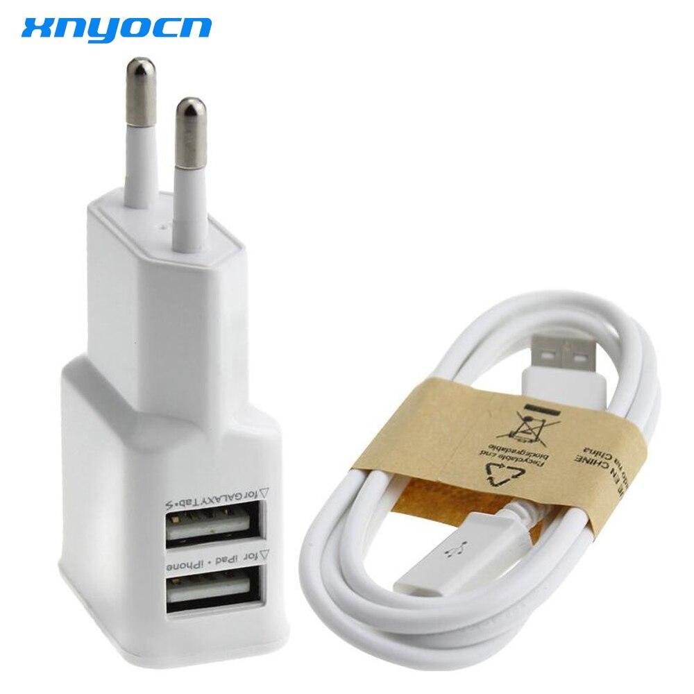 Branco/Preto 1set (1pcs 5V 2 2A Dual USB Carregador de Parede Adaptador de Tomada de Poder DA UE porto + 1pcs Micro linha de Dados USB Cabo de Sincronização para Samsung