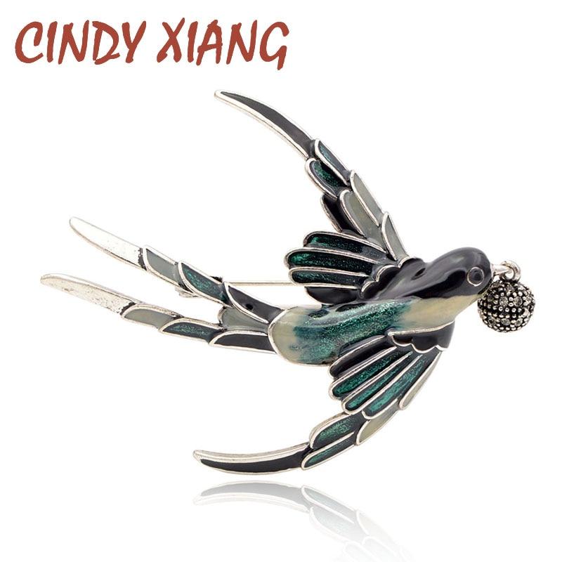 Женская эмалированная брошка CINDY XIANG, модная брошка в виде животных со стразами и птицами, аксессуары для пальто, 2018