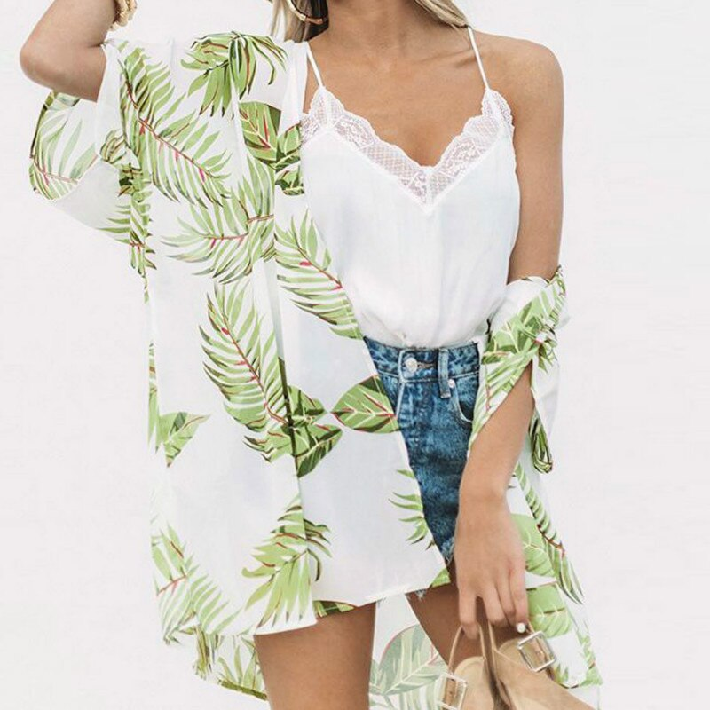 2020 verano Mujer Kimono Cardigan playa gasa estampado Floral blusa Harajuku Kimonos largos Casual de talla grande Tops Blusas Mujer