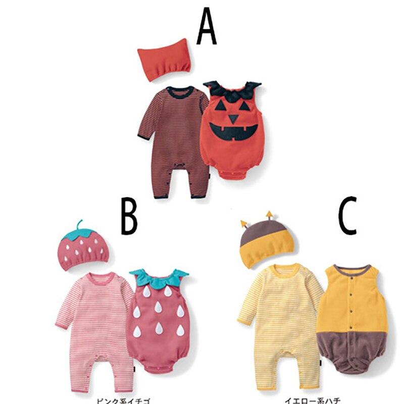 Traje de algodón para niña bebé, traje de fresa, mono de manga larga + sombrero + chaleco infantil, festival de halloween, ropa de fotografía