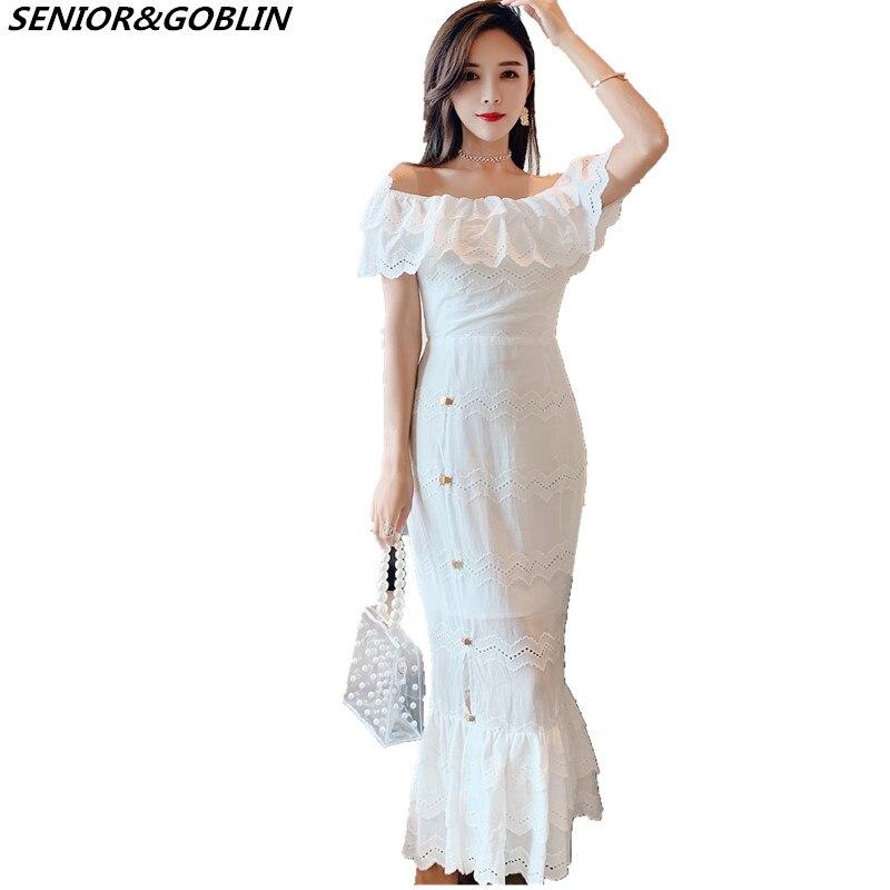 2019 Chegam Novas de Alta Qualidade Pista De Luxo Branco Vestido de Renda Das Mulheres de Manga Curta Sexy Fora Do Ombro Vestido de Festa Vestidos