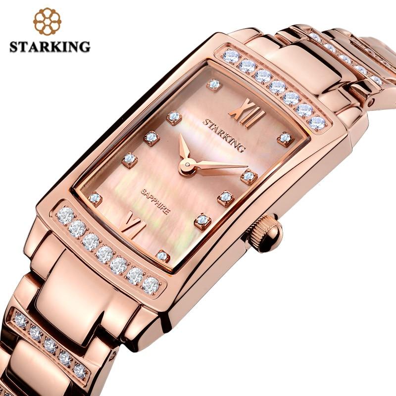 STARKING 2017 Relogio Feminino Frauen Analog Quarz Armband Uhren Mit Cz Stein Luxus Rose Gold Voller Stahl Damen Uhr Geschenk