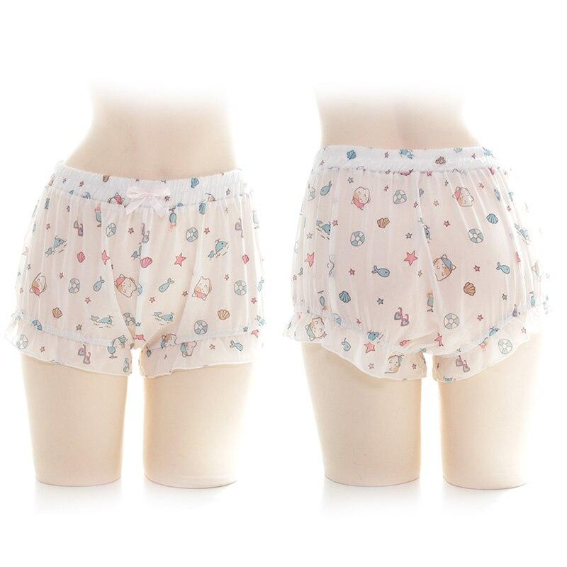 Então kawaii abóbora shorts bonito lolita menina dos desenhos animados gato peixe impressão plissado shorts cosplay feminino chiffon bloomers scanties verão