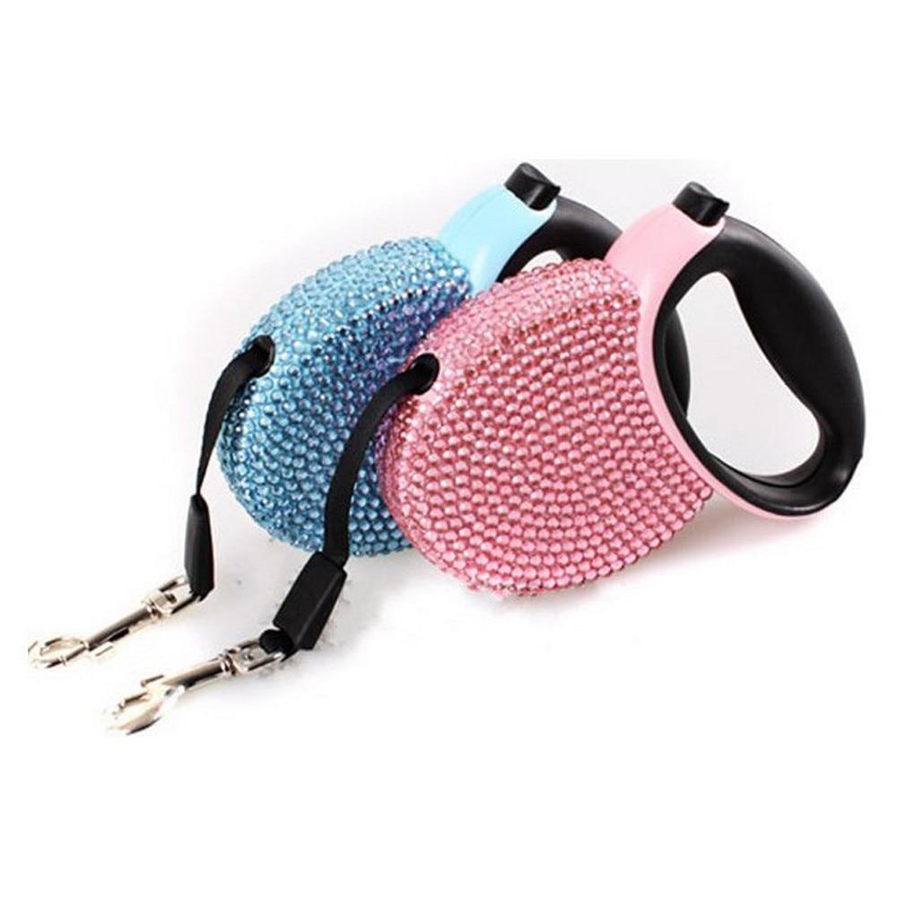 الحيوانات الأليفة المقود قابل للسحب الأزرق و الوردي حجر الراين بلينغ كريستال الكلب جرو الحيوانات الأليفة الرصاص المقود 3M شقة خط