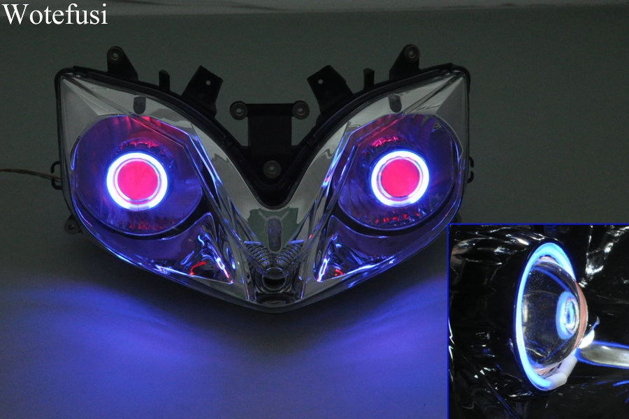 Wotefusi lámparas para proyector linterna azul ojos de Ángel + Diablo rojo ojo para Honda CBR 600 F4I 01-07 01 02 03 04 05 06 07 [DD03-BR]