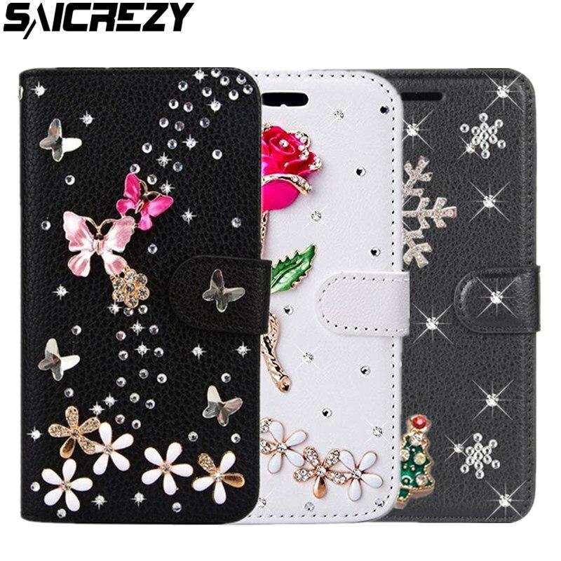 Etui portefeuille fleur Rose diamant Redmi 6A 7A 8A Note 5 6 7 8 Pro 8T housse de luxe en polyuréthane pour Xiaomi Play Mi A2 Mi8 Lite