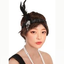 Retro 20s preto pena bandana charleston flapper feminino menina fantasiar-se festa bola traje ótimo estilo gatsby fantasiar-se para festa