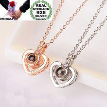 OMHXZJ gros mode européenne femme fille fête cadeau coeur projetant amour Zircon S925 pendentif en argent Sterling collier NA80
