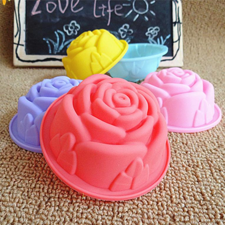 Molde de silicona para Tartas de 8CM, molde coreano para tartas de pudín para magdalenas, molde de gelatina de rosa, antiadherente, de color aleatorio
