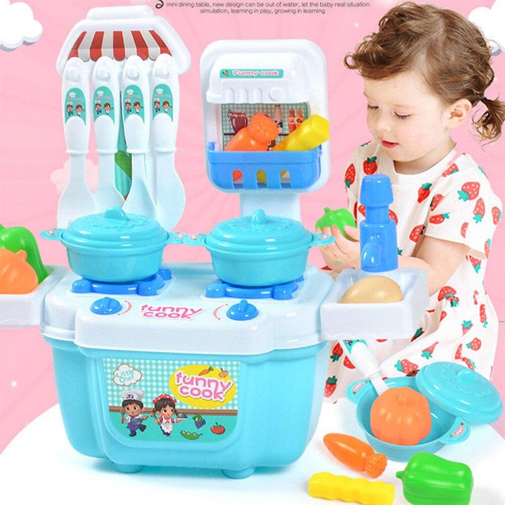 22pcs מטבח להעמיד פנים לשחק ילדי ילדה צעצוע תפקיד לשחק מיני סימולציה כלי מטבח כלי בישול שולחן צעצוע ילד מתנות T6 #