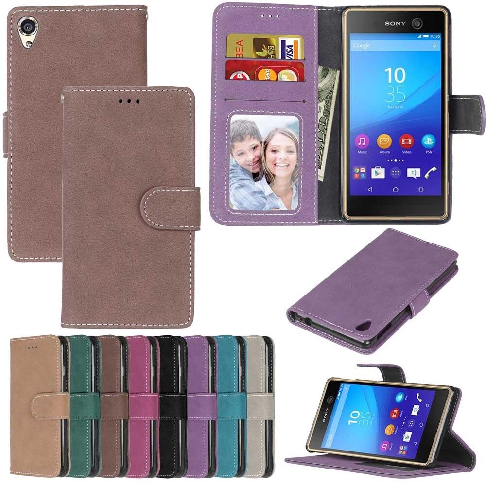 De cuero de lujo Flip teléfono caso para Sony Xperia X XA XZ X compact Z3 mini Z4 Z5 más E4G M4 m5 E5 cubierta billetera tarjeta caso