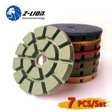 "Z-LION 4"" 7PCS Diamond Wet Polishing Pads Set For Stone Concrete 100mm Resin Polishing Wheel 8mm Thickness Diamond Polish Tool"