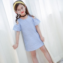 Cute Baby Girl Plaid Dresses Hot Summer Toddler Kids Baby Girls Clothes Blue Striped Off-shoulder Pa