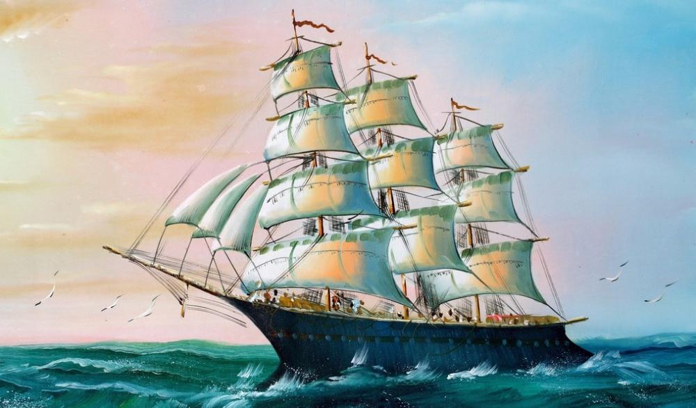 Arte Superior-pintura al óleo de la gaviota del mar del barco marino-buena impresión del arte de la pintura al óleo sobre lienzo-costo de envío gratis