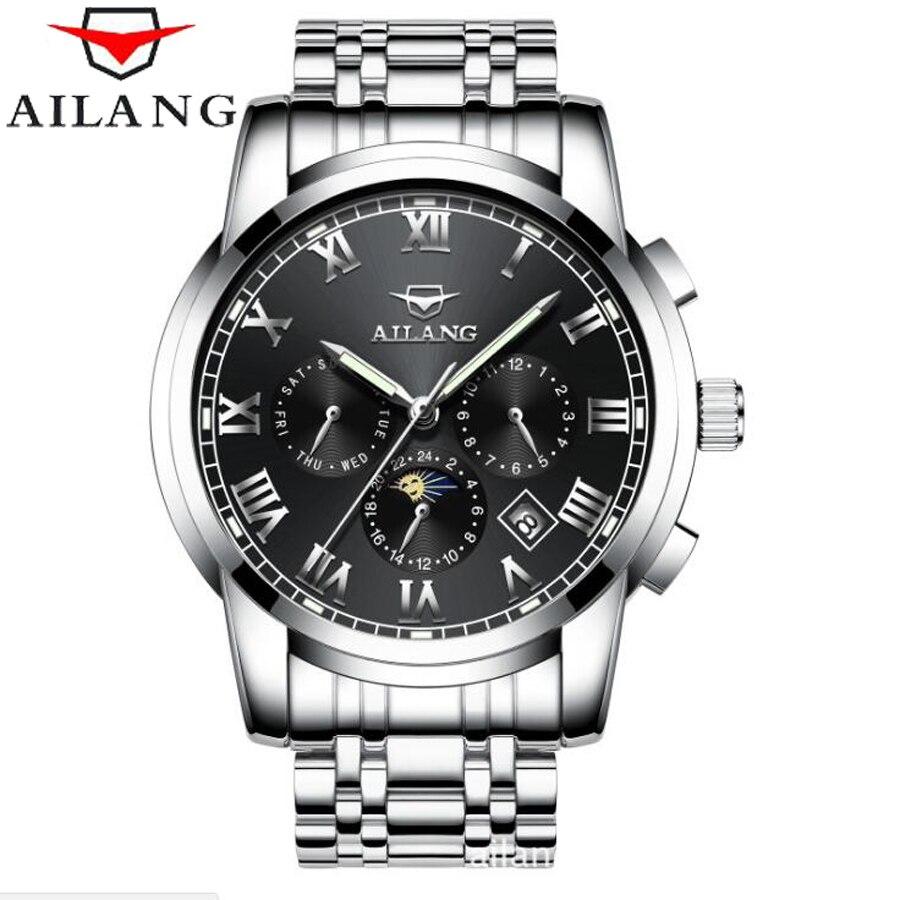 Topo da Marca de Luxo Fase da Lua Relógios Masculinos Ailang Relógio Automático Mecânico Moda Negócios Masculino 2021