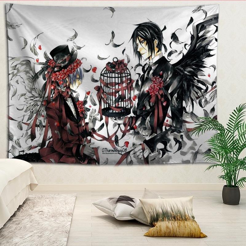 Recién llegado, tapiz negro personalizado con impresión de mayordomo, más tamaño, manta decorativa de pared para el hogar, sala de estar y dormitorio