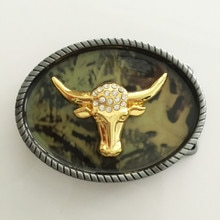 Retail 2016 New Oval aureate bull head cowboys belt buckles with pewter Fashion Mens Womens Jeans ac