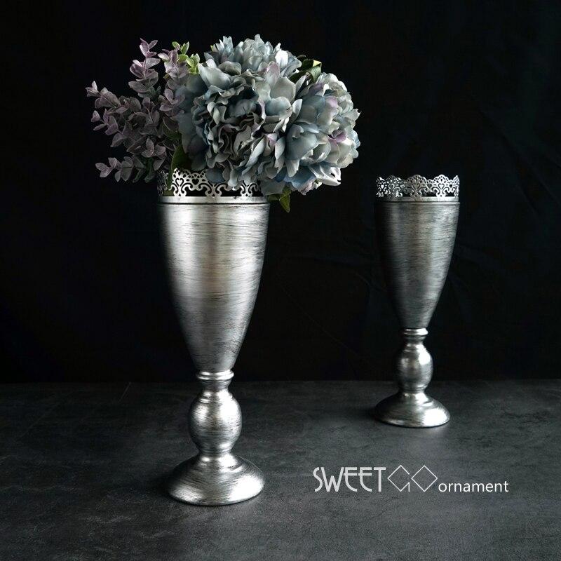 Jarrón de plata Vintage europeo para decoración del hogar florero seco florero para Arreglo de flores floreros de metal para bodas HP067