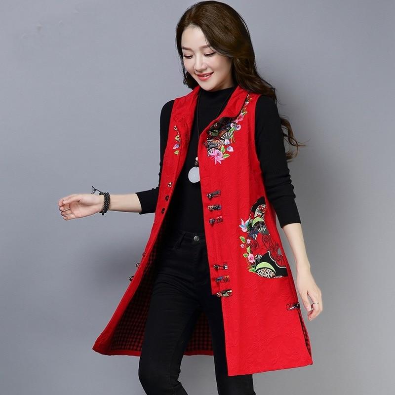 Ropa de estilo chino mujeres Hanfu primavera Retro Vintage chaleco Folk bordado blusa de estilo étnica rojo señoras China Tops TA1432