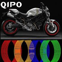 QIPO 16Pcs Motorcycle Wheel Sticker Reflective Decals Rim Tape Car MotorBike Strips 17/18 For YAMAHA HONDA SUZUKI BMW
