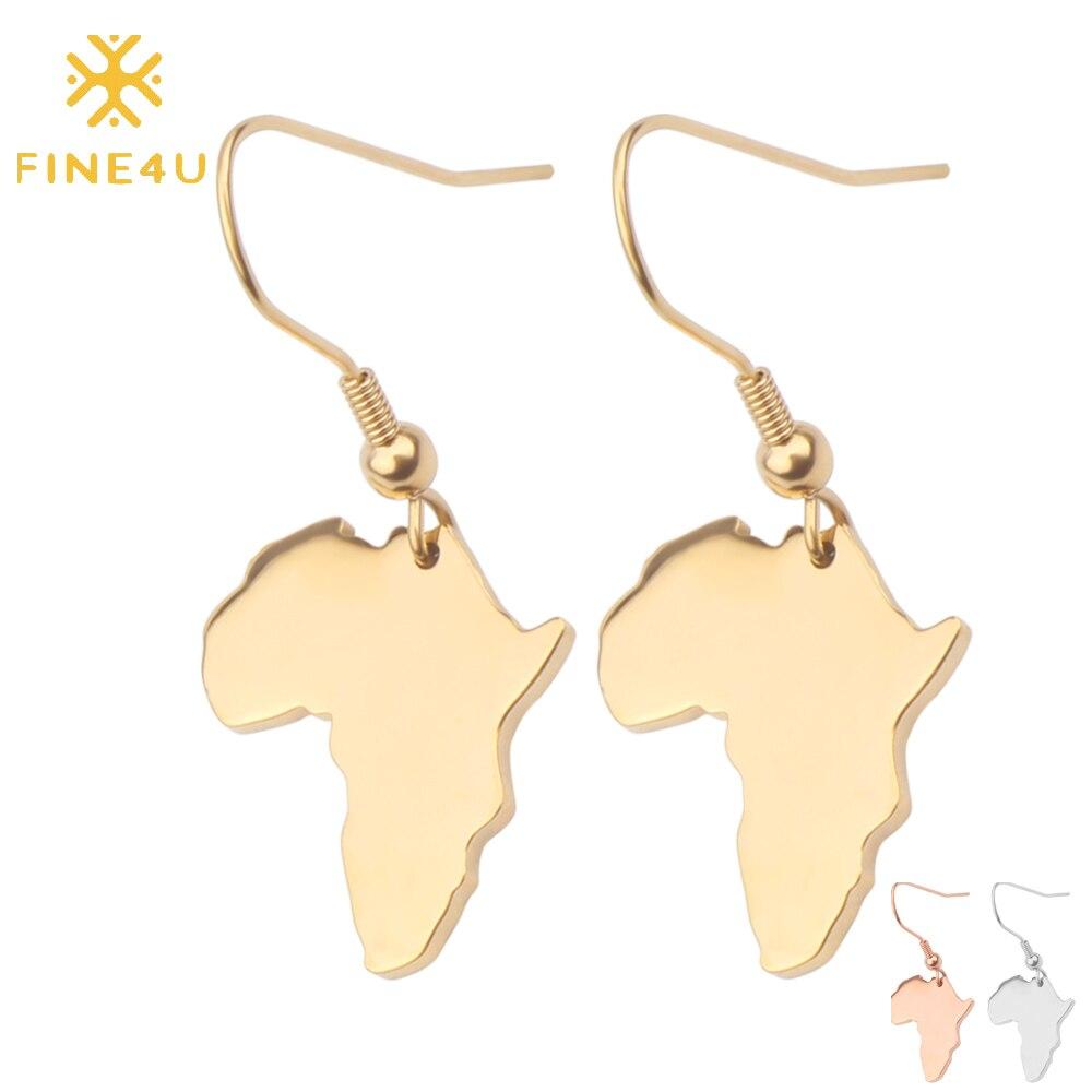FINE4U E075 Mapa de África pendientes colgantes para mujeres Acero inoxidable Corea estilo gota pendientes mapa boda fiesta regalo pendientes