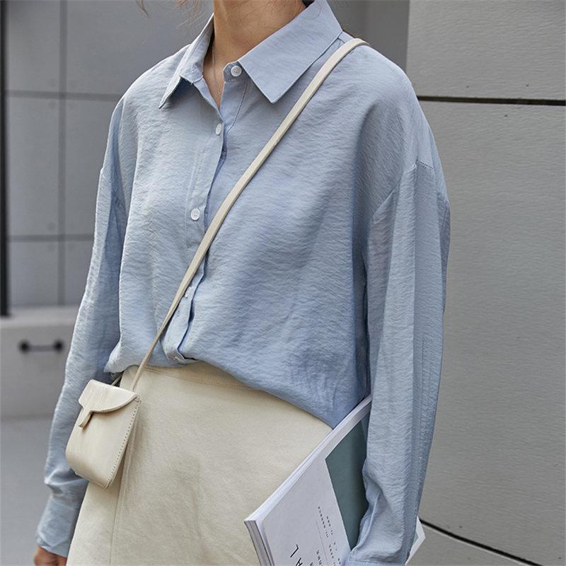 HziriP Delgado elegante de moda Delgado dulce Casual 2019 verano Corea Chic manga completa suelta camisas de protección solar 3 tipos