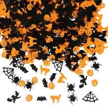 TIANZHIYUAN 150g Halloween Confetti Pumpkin Spider Bat Witch Cat Sprinkles Table Confetti Bright Halloween Night Decoration Set