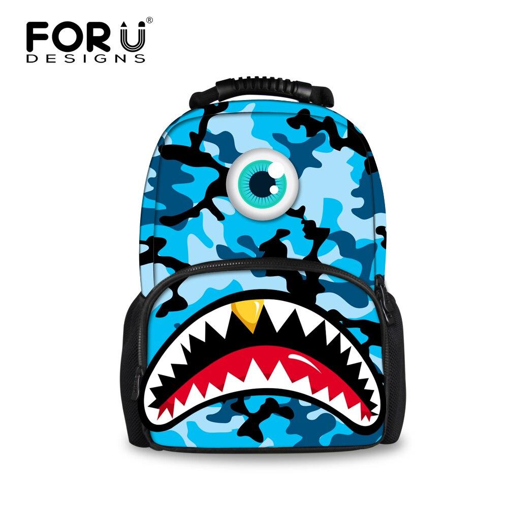 FORUDESIGNS bleu Camouflage hommes sac à dos 3D dent de requin impression sacs à dos pour adolescent garçons grande capacité voyage sacs