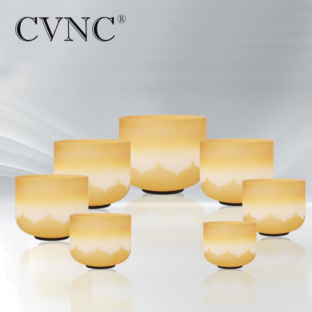 CVNC 6-12 بوصة شقرا لوتس الذهب الملونة الكوارتز الكريستال جرس الموسيقى cdevgab ملاحظة لتعزيز نظام المناعة تحسين النوم
