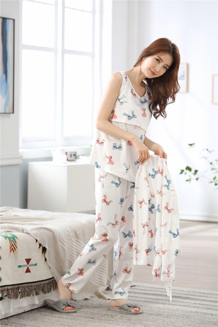 3 PCs/Set Printed Maternity Nursing Sleepwear Breastfeeding Nightwear for Pregnant Women Pregnancy Breast Feeding Pajamas Suits enlarge