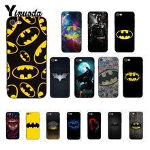 Yinuoda Batman superhéroe negro suave de TPU teléfono funda para iPhone 8 7 6 6S Plus X XS X MAX 5 5S SE XR 10 casos