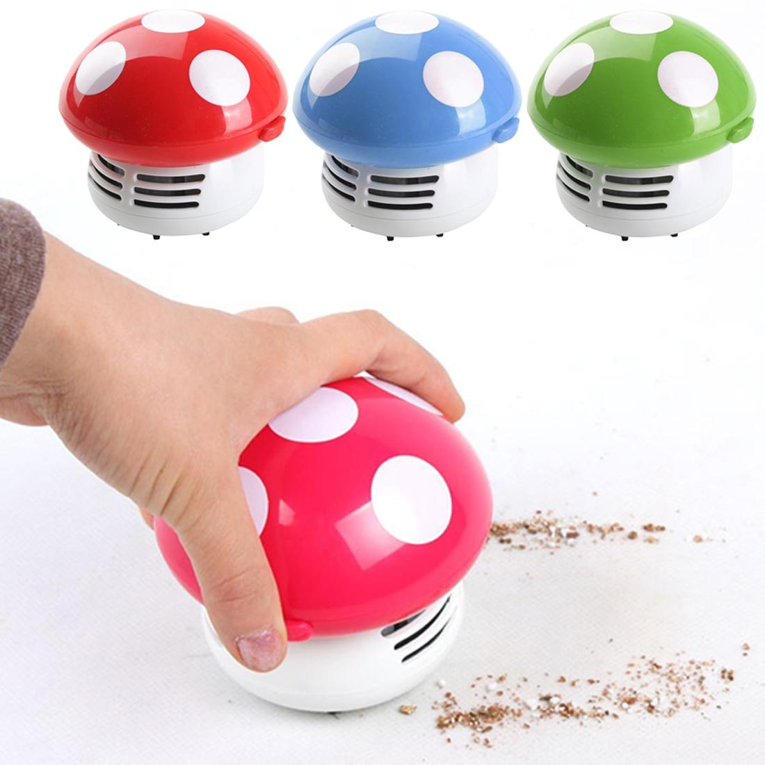 1 unidad de aspiradora de polvo para mesa de escritorio, limpiadora de esquinas, adorable Mini hongo
