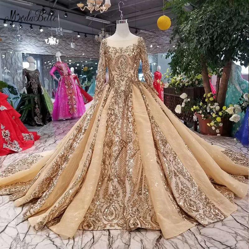 Vestido de Noite Modabelle Arábia Saudita Manga Longa Muçulmano Ouro Lantejoulas Vestido Festa Longo Luxo Árabe Vestidos Noite
