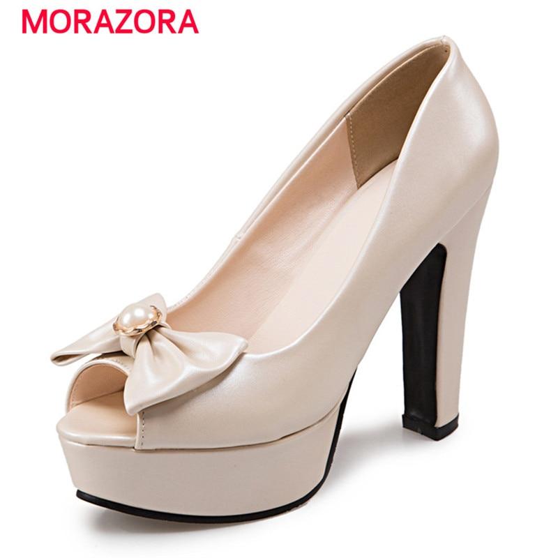 MORAZORA Large size 34-48 2020 Summer high heels shoes peep toe sweet wedding shoes shallow women pumps big size platform shoes