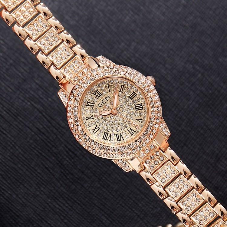 2019 Hot GEDI Fashion Rose Gold Women Watches Top Luxury Ladies Quartz Watch 2 Pieces Watches Full Rhinestone Dial Clocks Hours enlarge