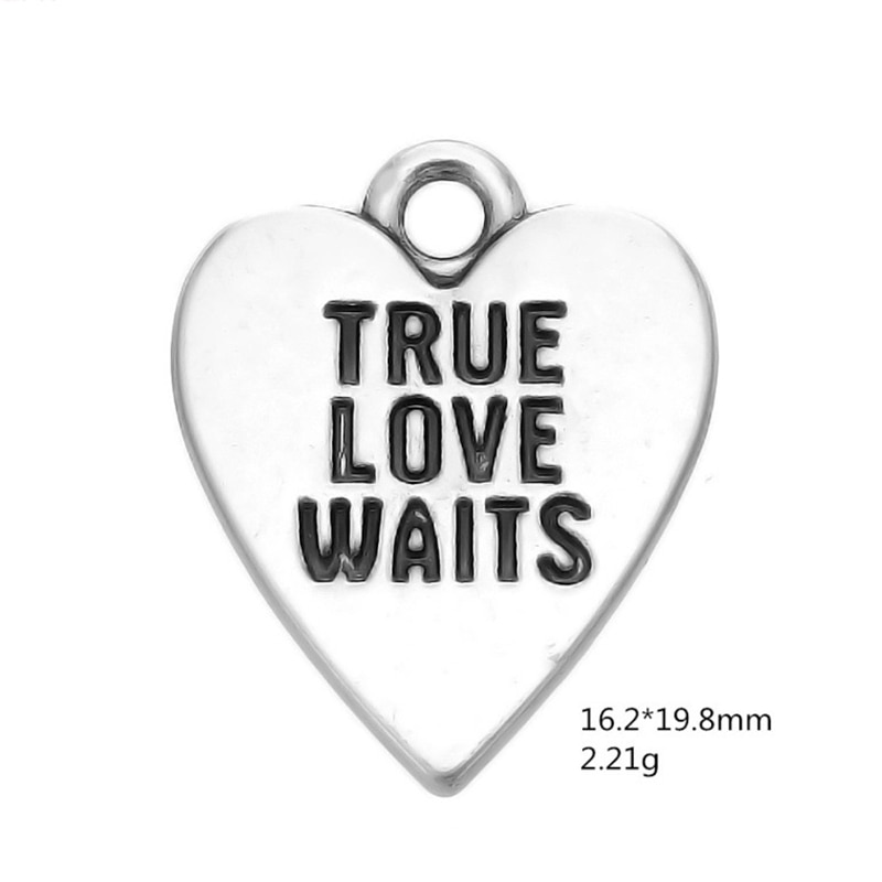 Plata antigua amor verdadero espera corazón colgante dijes para joyería hecha a mano pulseras collar fabricación DIY accesorios 50 piezas