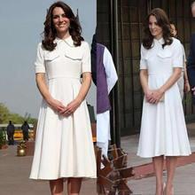 Kate Middleton princesse blanc solide robe mode a-ligne robes décontractées