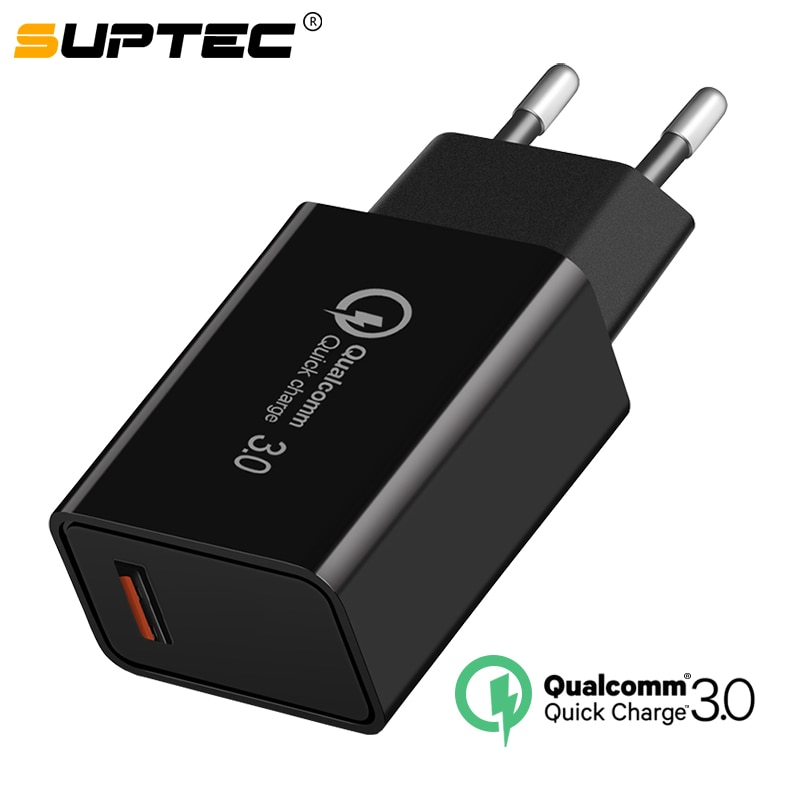 Cargador USB SUPTEC de carga rápida 3,0 18W QC3.0 QC Turbo adaptador de pared de carga rápida cargador de teléfono móvil para iPhone Samsung Xiaomi