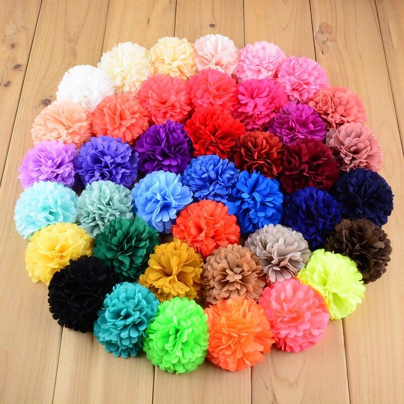 Yundfly 10pcs Chiffon Fabric Flowers Flat Back For Baby Girls DIY Garments Hair Fashion Flowers Hair Decorative Accessories
