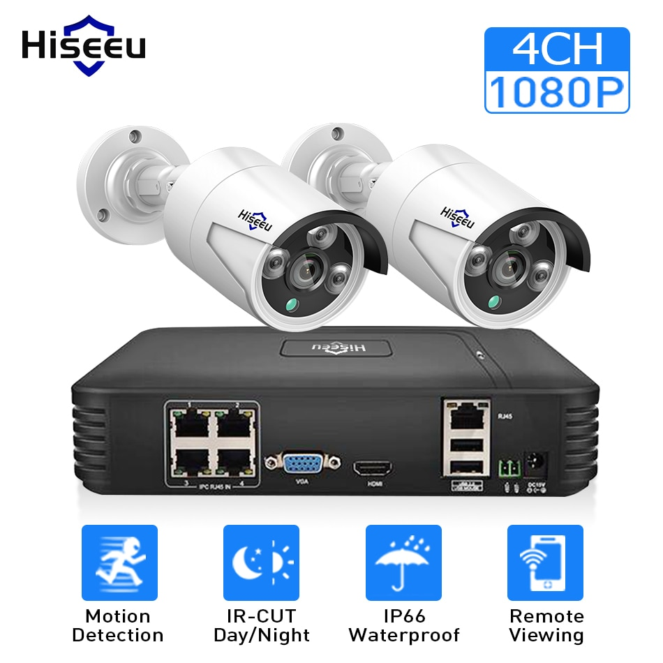 Hiseue 4CH 960 P/1080 P sistema de cámara CCTV inalámbrico wifi 2 uds. 1.3MP 2MP impermeable cámara IP kit de seguridad al aire libre cctv extensible