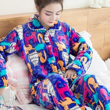 Autumn Winter Womens Pajama Sets Soft Thick Flannel Cartoon Printing Long Sleeve Pullover + Pants Warm Sleepwear Mujer Primark
