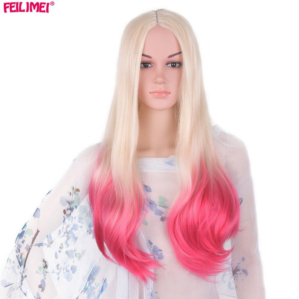 Feilimei-شعر مستعار صناعي ياباني طويل مموج ، 60 سنتيمتر ، 300 جرام ، أشقر ، وردي ، رمادي ، بنفسجي ، تأثيري