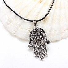 Подвеска Fatima hand evil eye, цепочка из кожи, ожерелье для женщин, сделай сам, образец сглаза, ожерелье для подарка