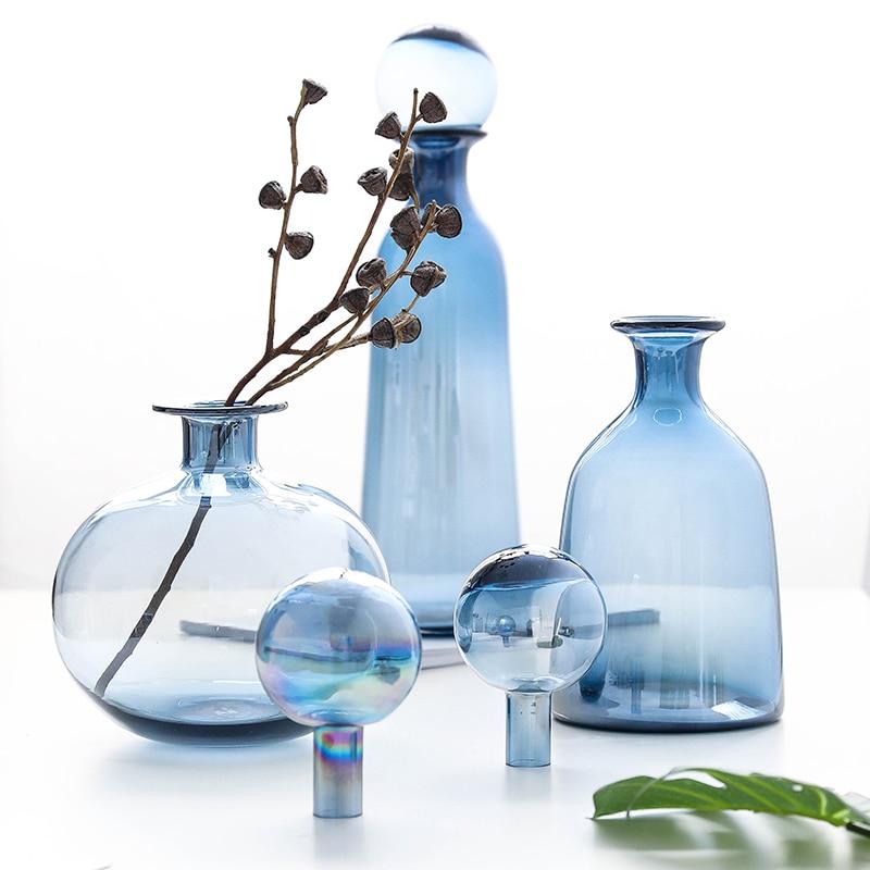 Blue Glass Vase Creative Flower Decoration Decoration Home Decoration Hydroponic Vase With Spherical Cover