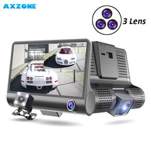 AXZONE DVR 3 Cameras lens Car DVR Front/Inside/Rear 4.0 inch Dash cam Full HD 1080P Video Recorder Auto Registrator DVR Dash cam