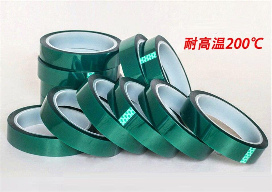 66 metros de espesor 0,06mm de alta temperatura verde PET cinta adhesiva PCB 5mm/10mm/12mm/15mm/20mm/25mm/30mm/50mm/100mm