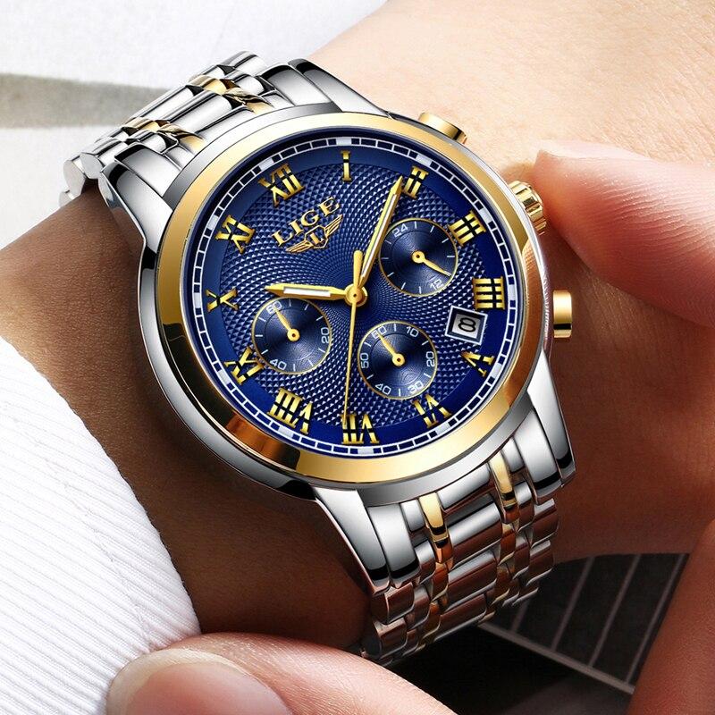 Mens שעונים למעלה מותג יוקרה ליגע עסקים נירוסטה עמיד למים קוורץ שעון גברים תאריך ספורט הכרונוגרף Relogio Masculino
